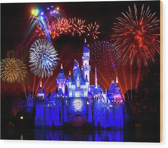 Disneyland 60th Anniversary Fireworks Wood Print