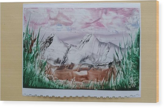 Distant Impressionistic Mountains Wood Print