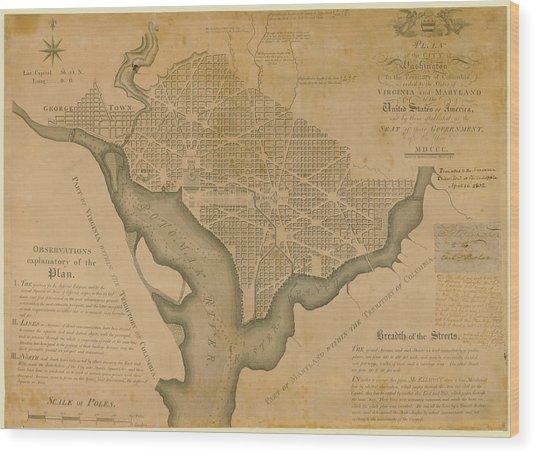 District Of Columbia 1792 Washington Wood Print