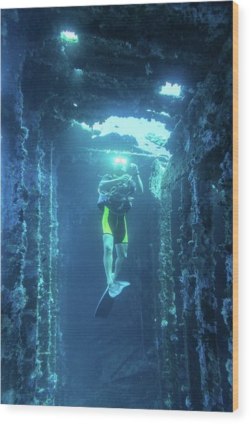 Diver In The  Wood Print
