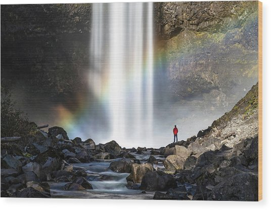 Wood Print featuring the photograph Divine Hand Shadow At Brandywine Falls by Pierre Leclerc Photography