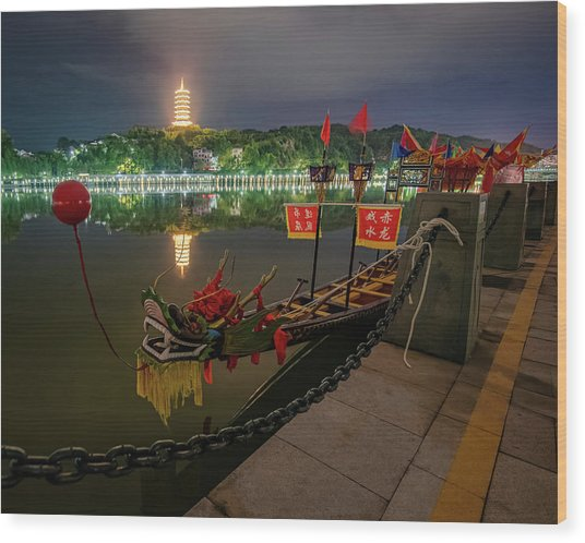 Wood Print featuring the photograph Docked Dragon Boat At Night I by William Dickman