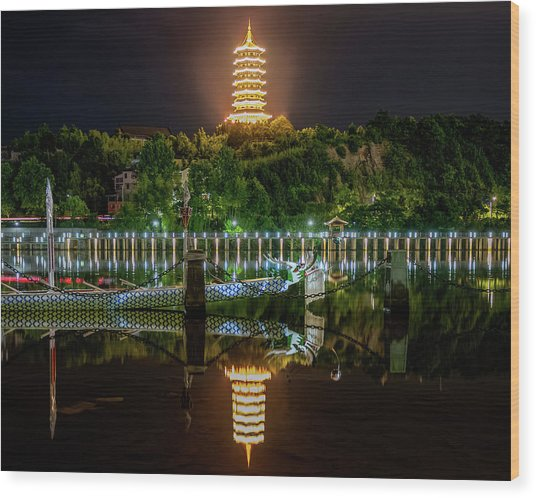 Wood Print featuring the photograph Docked Dragon Boat At Night IIi by William Dickman