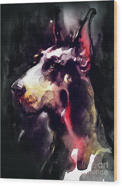 Dog  Watercolor Animal Wood Print