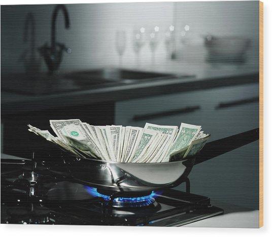 Dollar Bills In Frying Pan On Stove Wood Print by Walter Zerla