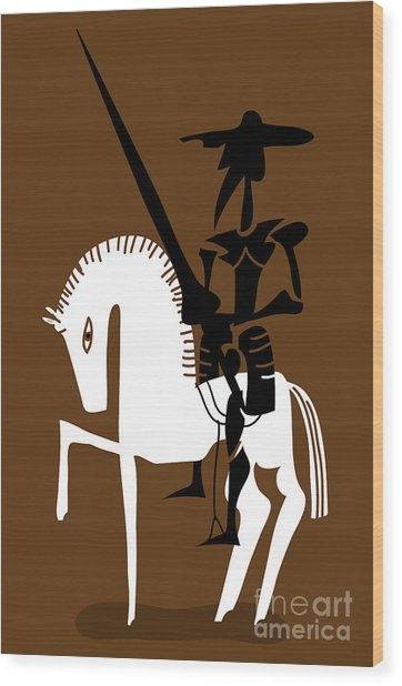Don Quixote Knight And His Horse Wood Print