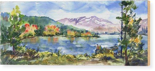Donner Lake Fisherman Wood Print