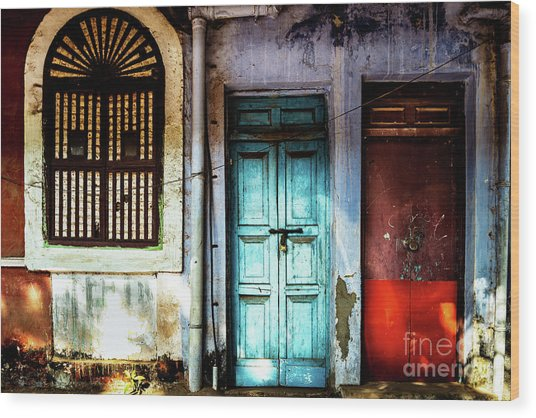 Wood Print featuring the photograph Doors Of India - Blue Door And Red Door by Miles Whittingham