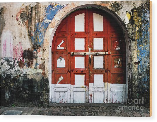 Wood Print featuring the photograph Doors Of India - Garage Door by Miles Whittingham
