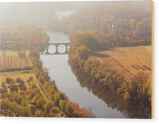 Dordogne River In The Mist Wood Print
