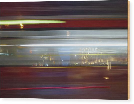 Double Decker Bus Blur 2 Wood Print