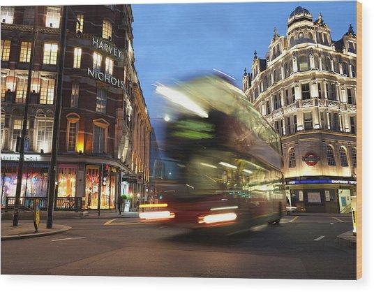 Double Decker Bus Blur Wood Print