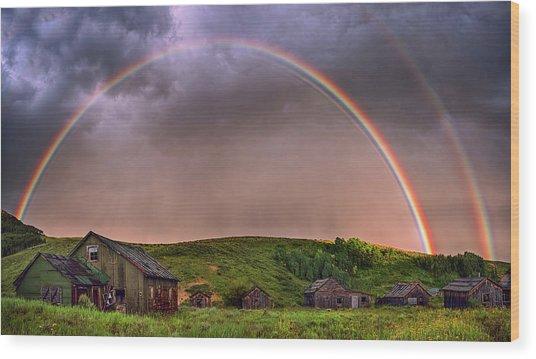 Double Rainbow Rebirth Wood Print