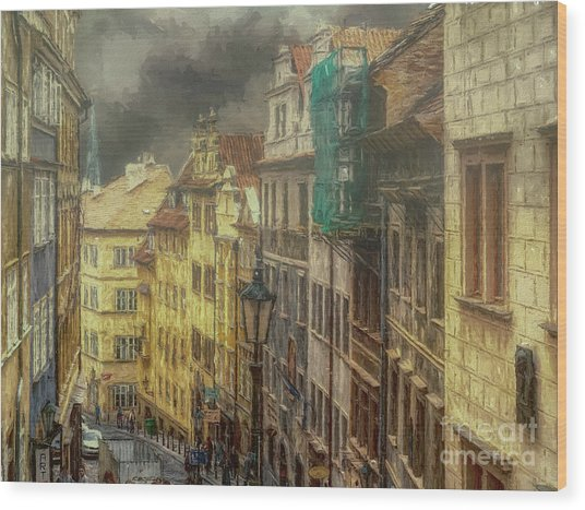 Downhill, Downtown, Prague Wood Print