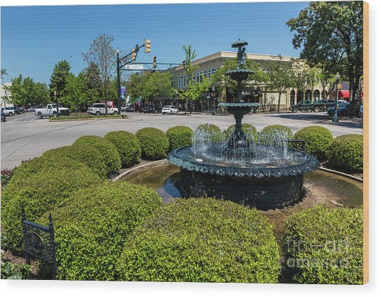 Downtown Aiken Sc Fountain Wood Print