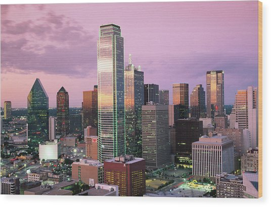 27aaf9a07c7 Downtown At Dusk From Reunion Tower Wood Print