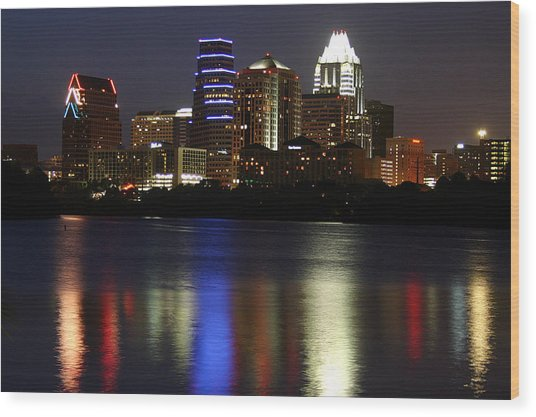 Downtown Austin Skyline Wood Print by Xjben