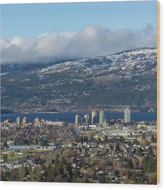 Downtown Kelowna From Dilworth Wood Print