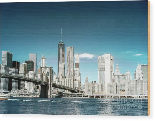 Downtown Manhattan View From Dumbo Wood Print by John Rizzuto