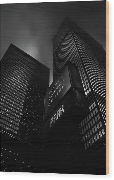 Wood Print featuring the photograph Downtown Toronto Fogfest No 16 by Brian Carson