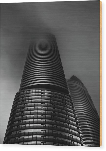 Wood Print featuring the photograph Downtown Toronto Fogfest No 21 by Brian Carson