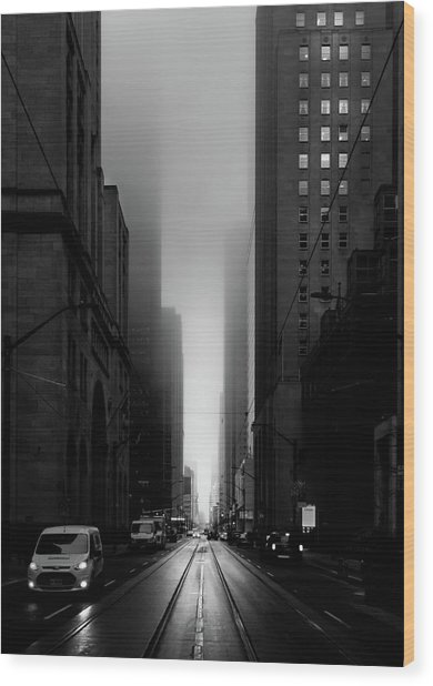 Downtown Toronto Fogfest No 26 Wood Print