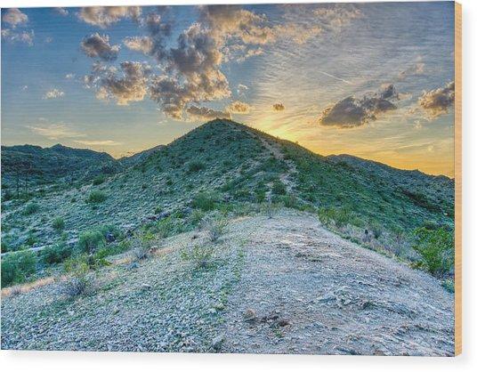 Dramatic Mountain Sunset Wood Print
