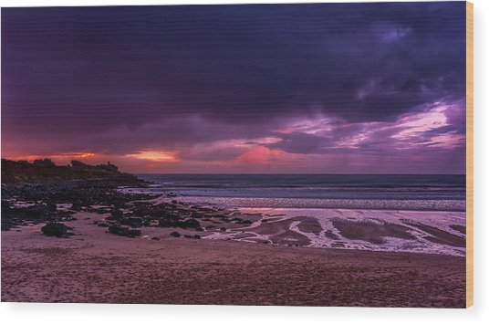 Dramatic Sky At Porthmeor Wood Print