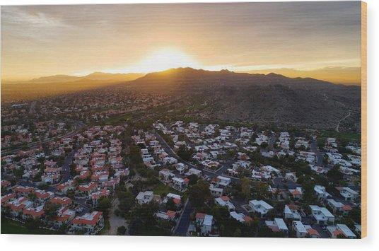 Dramatic South Mountain Sunset Wood Print