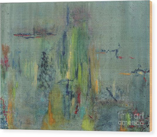 Wood Print featuring the painting Dreaming #1 by Karen Fleschler