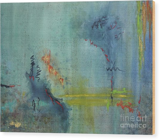 Wood Print featuring the painting Dreaming #2 by Karen Fleschler