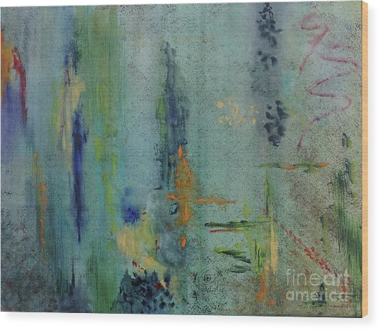 Wood Print featuring the painting Dreaming #3 by Karen Fleschler