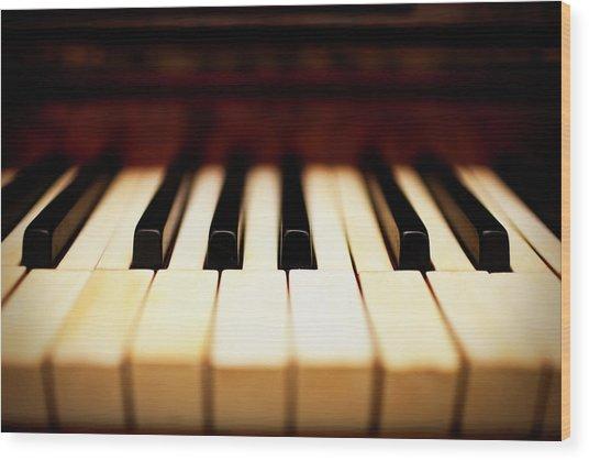 Dreamy Piano Keys Wood Print by Rapideye