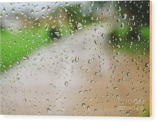 Drops Of Rain On An Autumn Day On A Glass. Wood Print