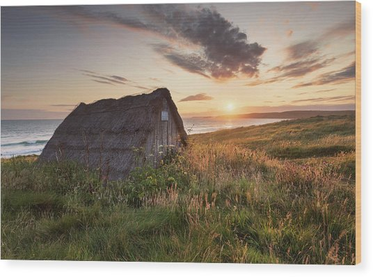 Wood Print featuring the photograph Drying Hut - Freshwater West by Elliott Coleman