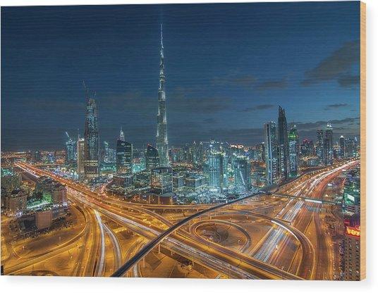 Dubai Downtown Area With Burj Khalifa Wood Print by Umar Shariff Photography