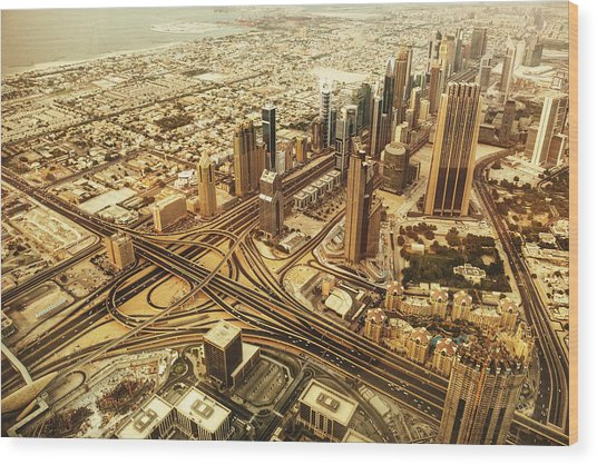 Dubai Skyline With Downtown Aerial View Wood Print by Franckreporter