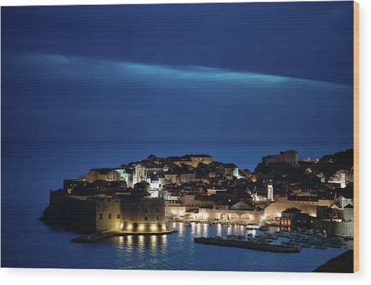 Dubrovnik Old Town At Night Wood Print