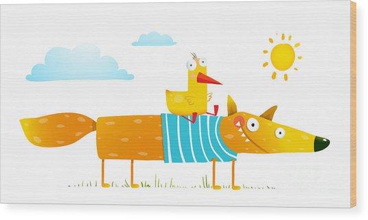 Duck Sitting On Fox Friends. . Animal Wood Print