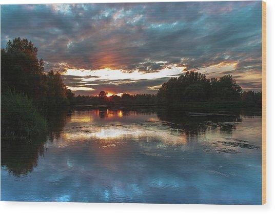 Dusk Aquarelle Wood Print