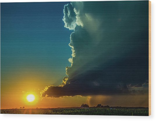 Dying Nebraska Thunderstorms At Sunset 068 Wood Print