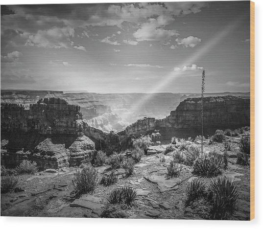 Eagle Rock, Grand Canyon In Black And White Wood Print
