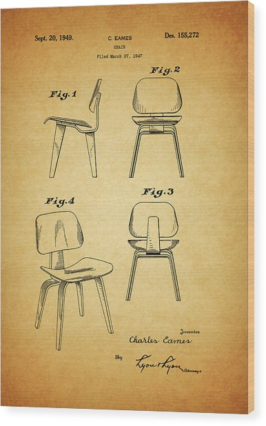 Eames Chair Patent Wood Print