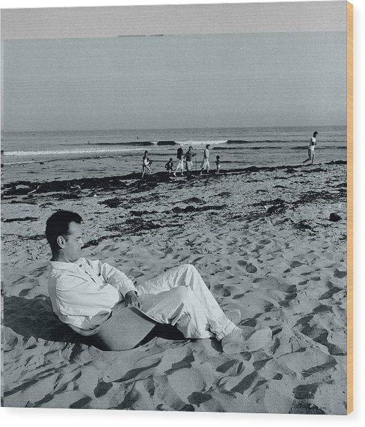 Eames On The Beach Wood Print