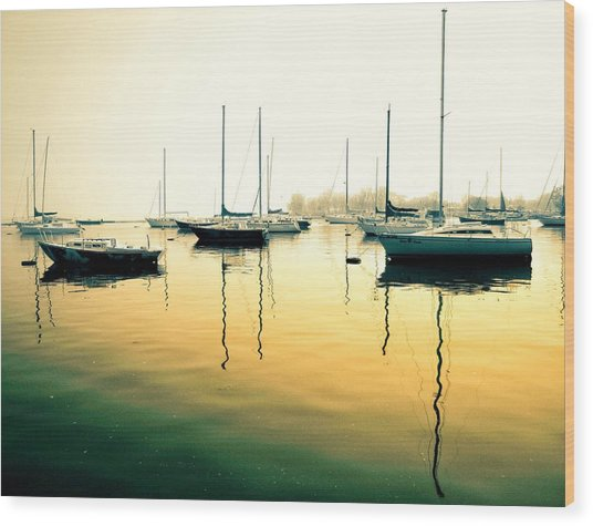 Early Mornings At The Harbour Wood Print