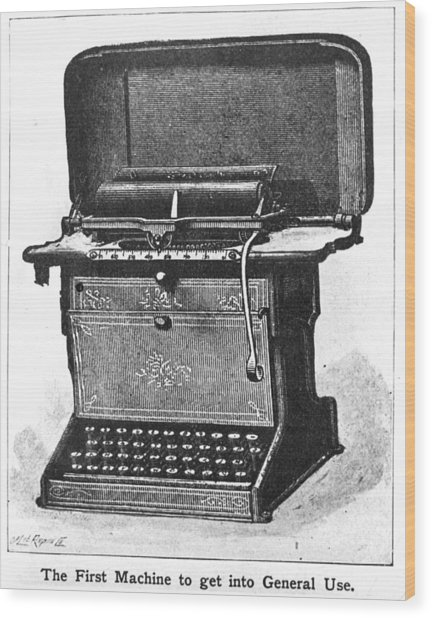 Early Typewriter Wood Print by Hulton Archive