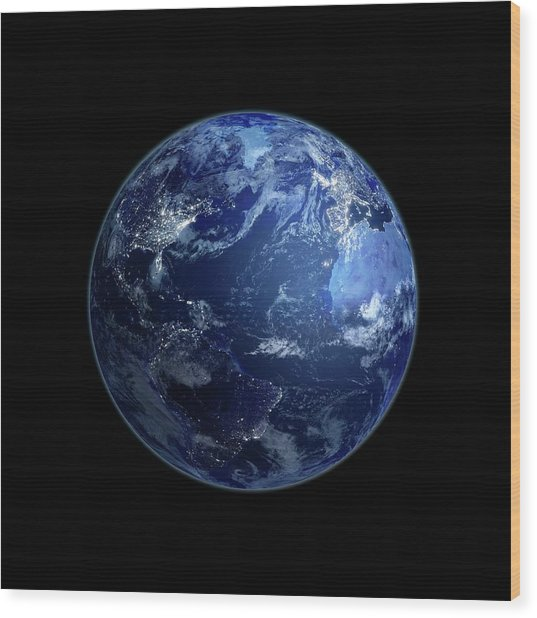 Earth At Night, Artwork Wood Print by Andrzej Wojcicki