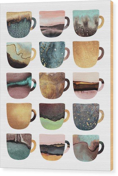 Earthy Coffee Cups Wood Print