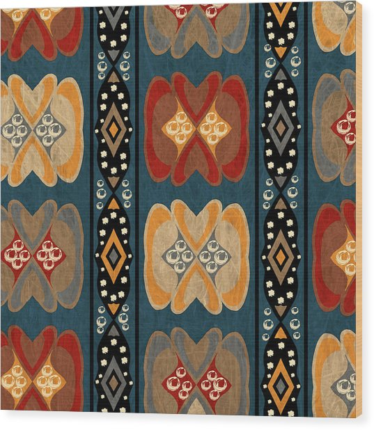 East African Heart And Diamond Stripe Pattern Wood Print