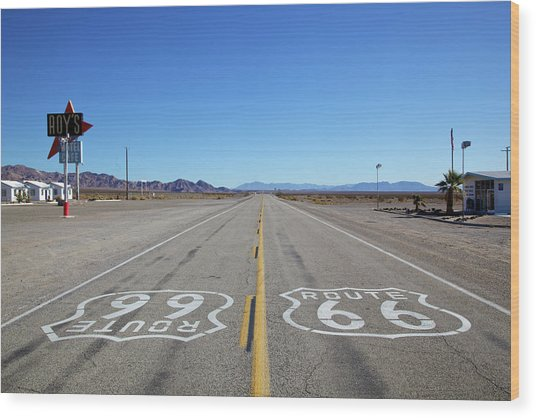East And West Bound Route 66 Symbols Wood Print